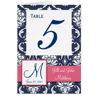 Pink Navy Blue Damask Wedding Table Number 4 x 6 Note Card