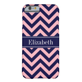 Pink, Navy Blue LG Chevron Navy Name Monogram Barely There iPhone 6 Case