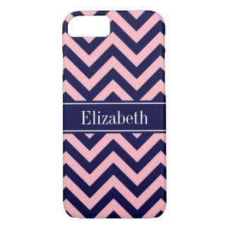 Pink, Navy Blue LG Chevron Navy Name Monogram iPhone 7 Case