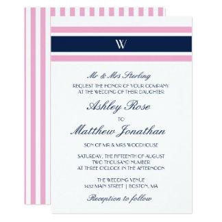 Pink & Navy Blue | Monogram Wedding 13 Cm X 18 Cm Invitation Card