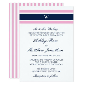 Pink & Navy Blue | Monogram Wedding Card