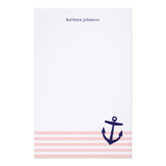 Pink & Navy Blue Nautical Stripes & Cute Anchor Stationery
