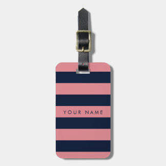 Pink & Navy Blue Striped Personalized Luggage Tag