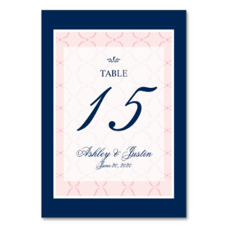Pink, Navy Blue Traditional Wedding Table Number Table Card