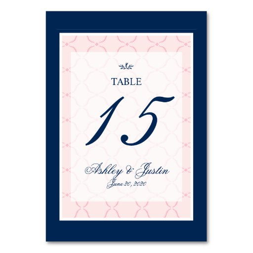 Pink, Navy Blue Traditional Wedding Table Number Table Cards