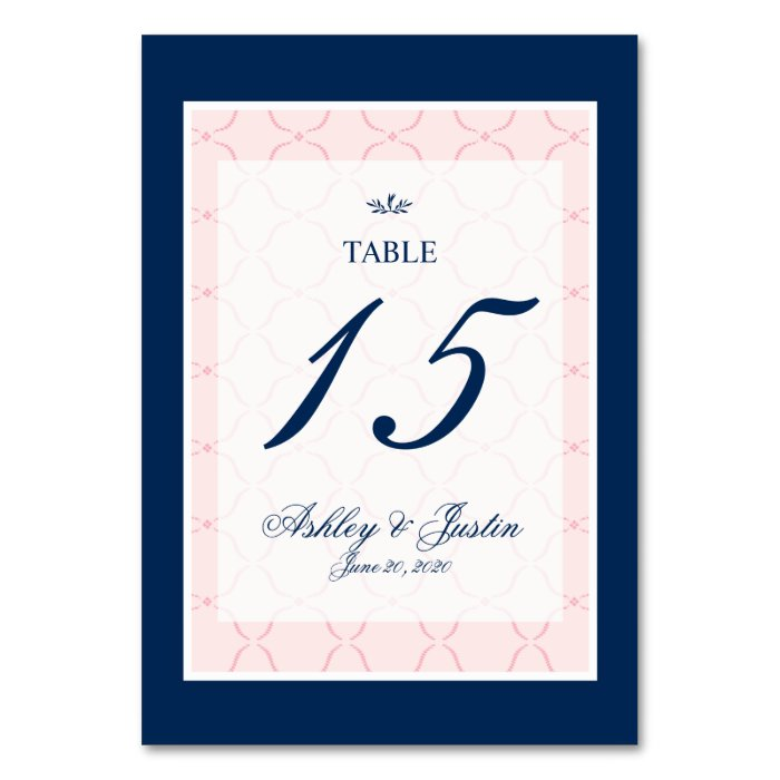 Typical Wedding Gift Card Amount : Pink, Navy Blue Traditional Wedding Table Number Table Card Zazzle