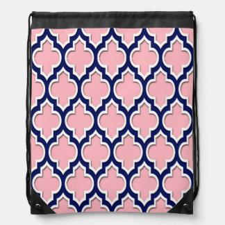 Pink, Navy Blue White Moroccan Quatrefoil #4DS Cinch Bag
