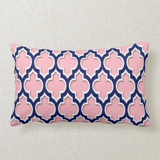 Pink, Navy Blue White Moroccan Quatrefoil #4DS Lumbar Cushion