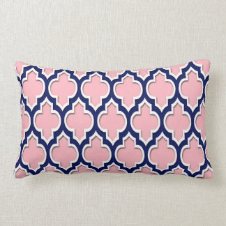 Pink, Navy Blue White Moroccan Quatrefoil #4DS Lumbar Pillow