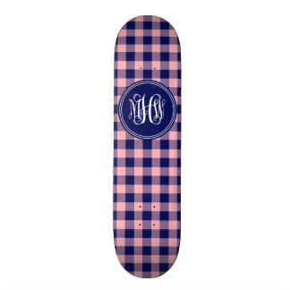 Pink Navy Buffalo Check Plaid Navy Vine Monogram 20.6 Cm Skateboard Deck