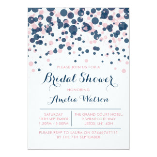 Pink & Navy Confetti bridal shower invitation