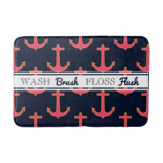 Pink Navy Gold Nautical Anchor Bath Mat Bath Mats