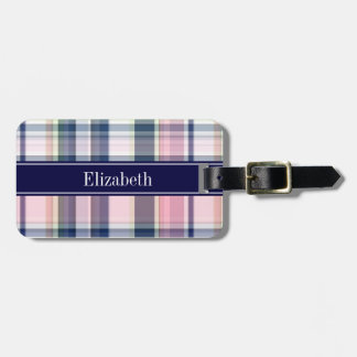 Pink Navy Green White Preppy Madras N Monogram Luggage Tag