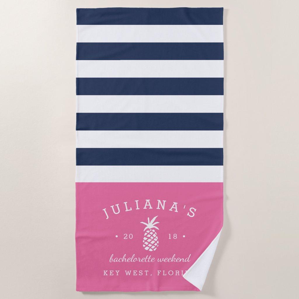 Pink & Navy Personalised Bachelorette Weekend Beach Towel