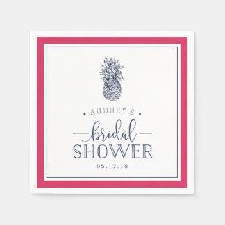 Pink & Navy Pineapple Bridal Shower Disposable Napkins