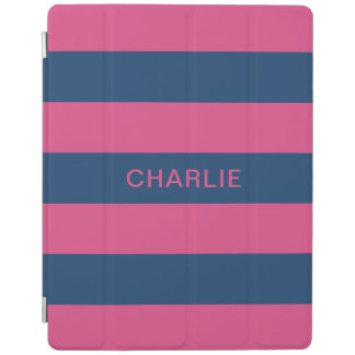 Pink & Navy Stripes custom name device covers iPad Cover