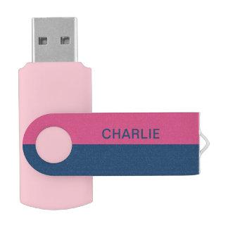 Pink & Navy Stripes custom name USB drives
