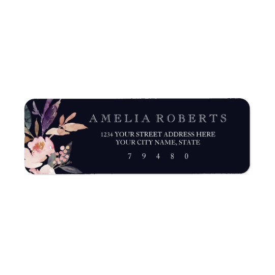 Pink Navy Watercolor Peonies Return Address Label