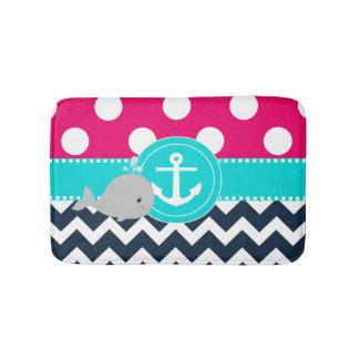 Pink Navy Whale Bathmat