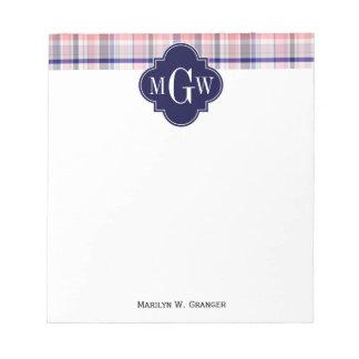 Pink Navy White Preppy Madras Quatrefoil Monogram Notepad