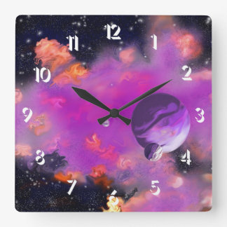 Pink Nebulae Square Wall Clock