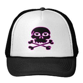 Pink Neon Black Skull Hat