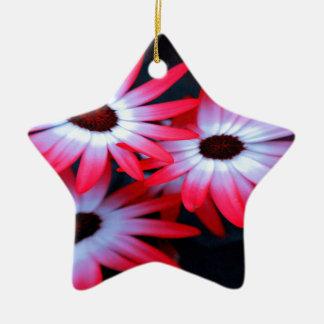 Pink neon daisy christmas ornament