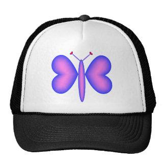Pink Neon Hearts Butterfly Trucker Hat