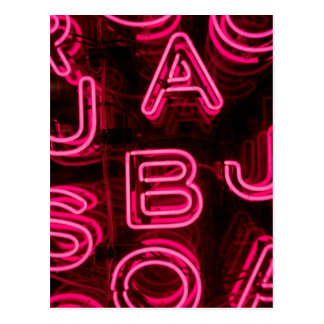 Pink Neon Letters Postcard