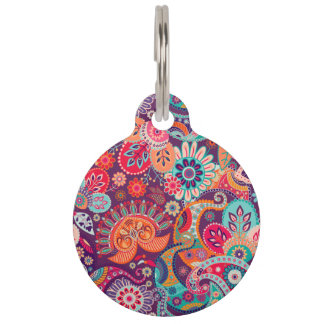 Pink neon Paisley floral pattern Pet Tag