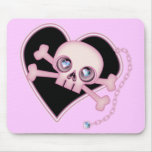 Pink Neon Skull Mousepads