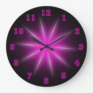 "Pink Neon Star 10.75"" Wall Clock"