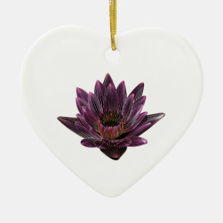 Pink Neon Water Lily Ceramic Heart Decoration