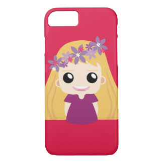 pink net idol girl with flower band iPhone 7 case