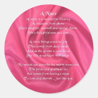 Pink - Niece Poem Classic Round Sticker