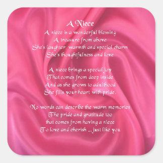 Pink - Niece Poem Square Sticker