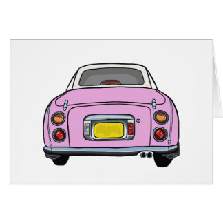 Pink Nissan Figaro Car Blank Greeting Card
