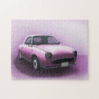 Pink Nissan Figaro Car Fine Art Jigsaw Jigsaw Puzzle