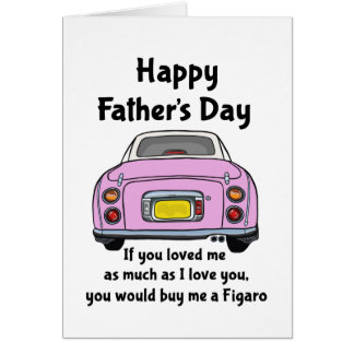 Pink Nissan Figaro Car Happy Father's Day Card