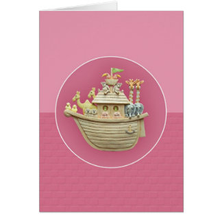 Pink Noah's Ark Greeting Card