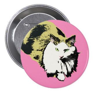 Pink nose fluffy mane cat 7.5 cm round badge
