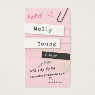 Pink Notebook Page Business Card
