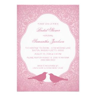 Pink Nouveau Floral Frame Bridal Shower Invite