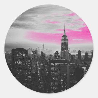 pink ny.jpg classic round sticker