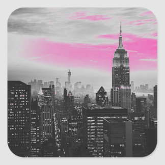 pink ny.jpg square sticker