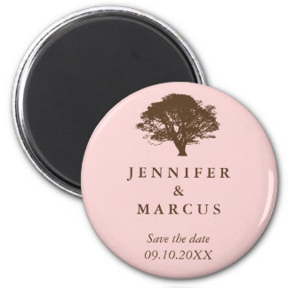 Pink oak tree wedding announcement save the date 6 cm round magnet