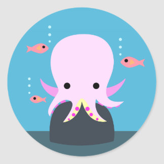 Pink Octopus & 3 Fish Stickers
