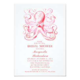 pink octopus nautical beach bridal shower card