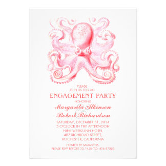pink octopus nautical beach engagement party custom announcements