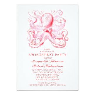 "pink octopus nautical beach engagement party 5"" x 7"" invitation card"